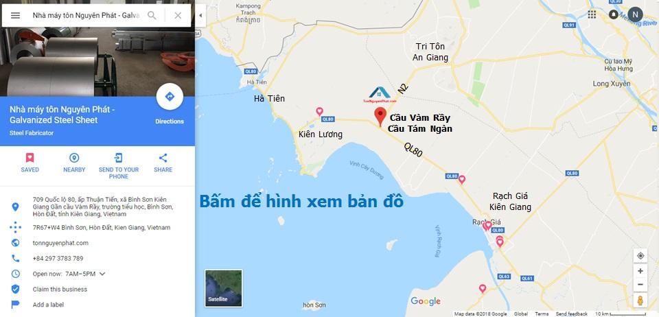 Bản đồ hướng dẫn đường đi đến nhà máy tôn Nguyên Phát, Kiên Giang.